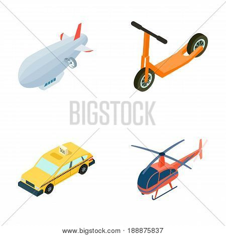 A dirigible, a children's scooter, a taxi, a helicopter.Transport set collection icons in cartoon style vector symbol stock illustration .