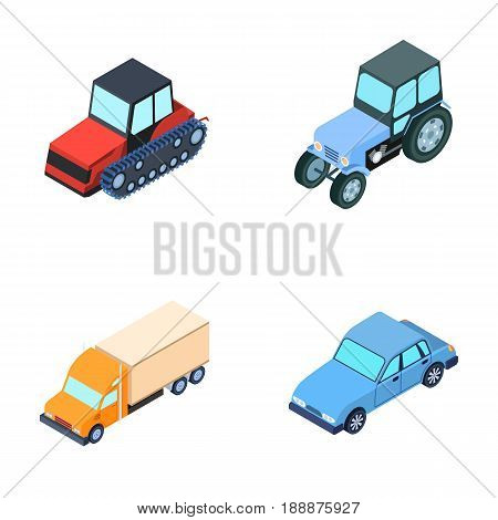 Tractor, caterpillar tractor, truck, car. Transport set collection icons in cartoon style vector symbol stock illustration .