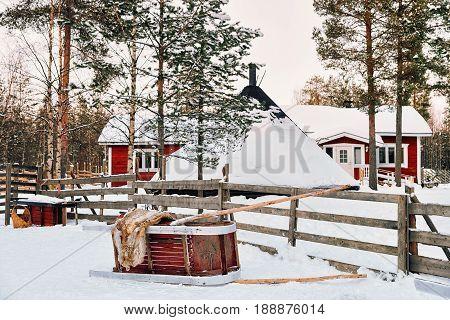 Sledge At Reindeer Farm In Winter Rovaniemi
