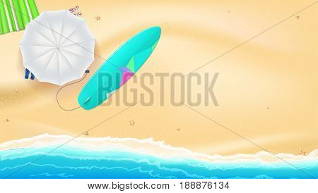 Summer sand of beach on the seashore. Umbrella, Mat, beach slippers and surfboard near the waves of sea. Horizontal summer background. Template for online shopping, advertising actions, magazines.