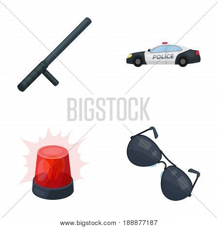 Police baton, auto, flasher, glasses.Police set collection icons in cartoon style vector symbol stock illustration .