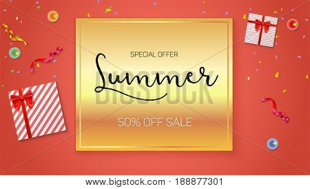 Summer sale ad, selling banner on gold background. Top view. Gift box with red ribbon and bow, burning, lighted candle, with serpentine and confetti on hot orange background.