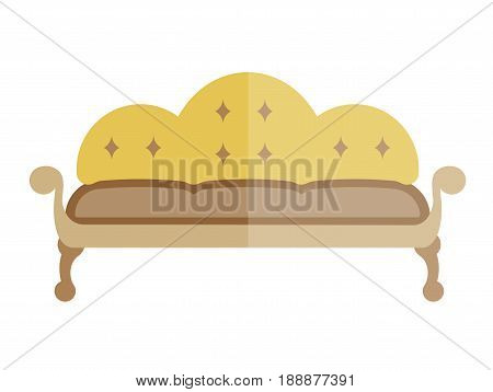 Yellow sofa in antique style isolated on white. Vector colorful illustration in flat design of partially bright couch with comfortable back and two armrests, standing on legs. Furniture type template