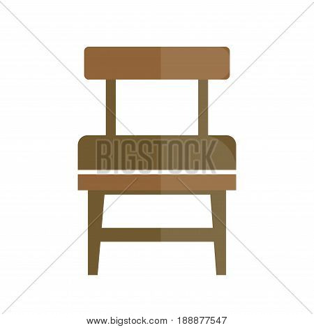 Stylish retro seat with back icon. Comfortable wooden vintage chair with dark brown legs isolated vector illustrations on white background. Room furniture for comfort and interior decoration.