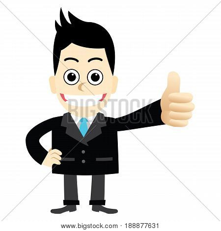 Businessman shows the thumbs up.Men are excellent compliments.