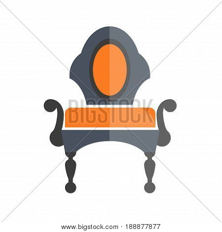 Luxury antique armchair in dark and orange colors isolated on white. Vector illustration in flat design of comfortable vintage place for sitting with armrests where one half is bright, another dim