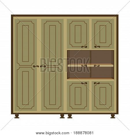 Antique wardrobe with vertical long and small doors and open shelves. Ancient wooden piece of furniture for storing clothes things and various elements vector colorful illustration in flat design