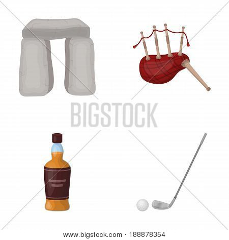 Stone monument, bagpipe, whiskey, golf. Scotland country set collection icons in cartoon style vector symbol stock illustration .