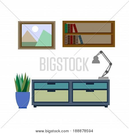 Stylish pieces of furniture for living room colorful vector poster. Chest of drawers with grey lamp near plant, hanging shelves with books near picture with landscape. Drawing room mebel template
