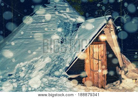 Lappish House Of Reindeer Farm In Winter Lapland Night Snowfall