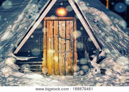 Lappish House At Reindeer Farm In Winter Lapland Night Snowfall