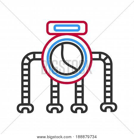 Graphic robot with big circle standing on four legs isolated on white. Close up vector illustration in flat design of futuristic technical equipment to help people. Contemporary human substitute