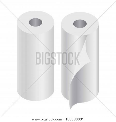 Realistic paper rolls collection of two isolated on white. Toilet paper of rolled towels for kitchen poster. Vector banner in flat design of blank and clean hygienic means for various purposes