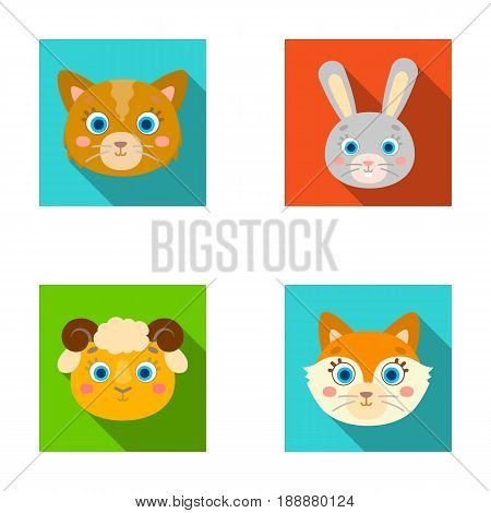 Cat, rabbit, fox, sheep. Animal's muzzle set collection icons in flat style vector symbol stock illustration .