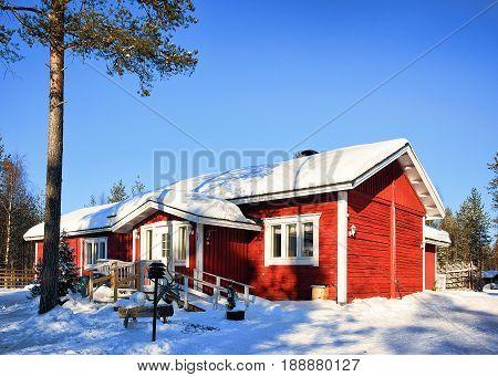 House In Winter Reindeer Farm In Lappish Rovaniemi