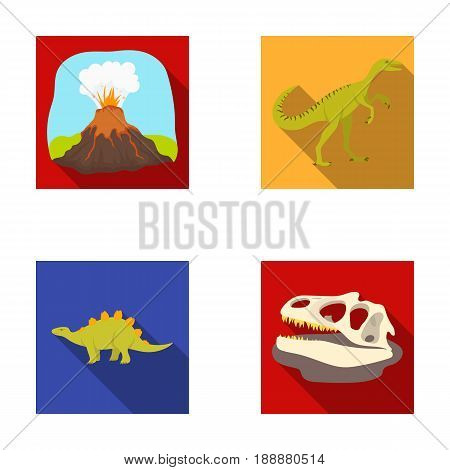 Volcanic eruption, gallimimus, stegosaurus, dinosaur skull. Dinosaur and prehistoric period set collection icons in flat style vector symbol stock illustration .