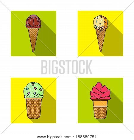 Ice cream on a stick, in a waffle cone and other species. Ice cream set collection icons in flat style vector symbol stock illustration .