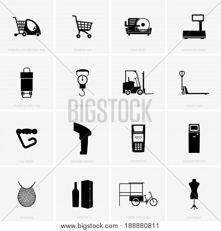 Set of different shopping and trading accessories