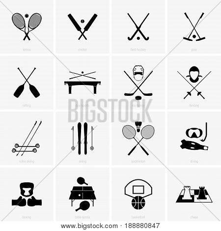 Set of sixteen different sports symbols on square backgrounds