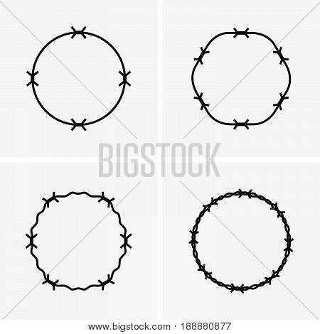 Set of four round barbed wire frames