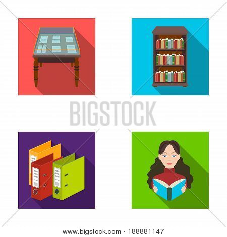 A table with old documents, bookshelves, folders, a visitor. A library and a bookstore set collection icons in flat style vector symbol stock illustration .