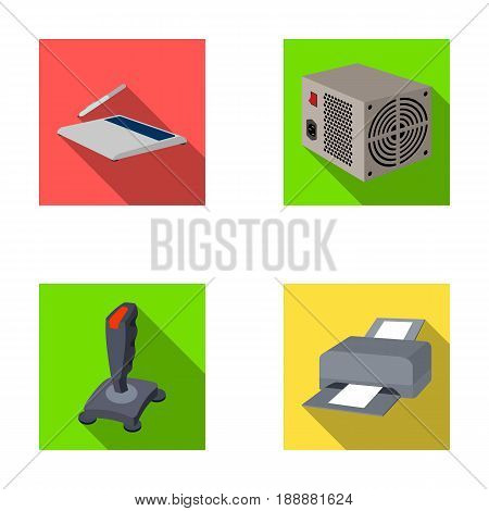 Power unit, dzhostik and other equipment. Personal computer set collection icons in flat style vector symbol stock illustration .