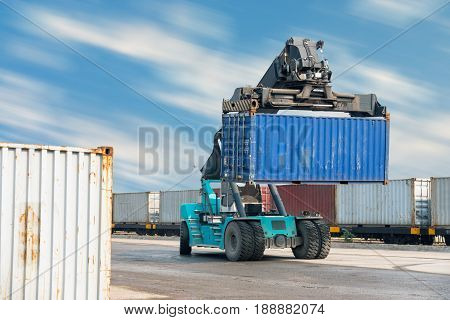 Container lifting truck in the storage yard.