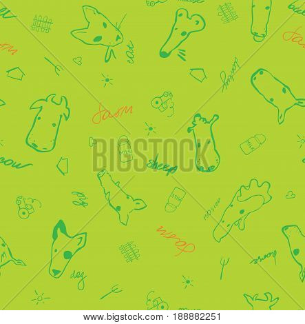Vector seamless pattern with farm animals made in cartoon style. Bull cow mouse pig sheep horse goat duck donkey swine and other mammals. Purfect for background or textile