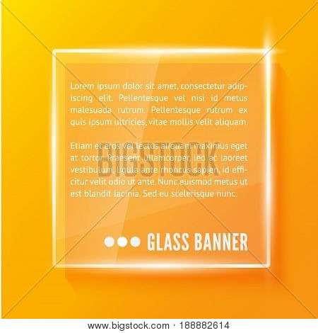 Glass plate with reflaction and shadow isolated on orange background. Realistic vector illustration.