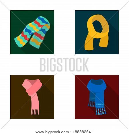 Various kinds of scarves, scarves and shawls. Scarves and shawls set collection icons in flat style vector symbol stock illustration .