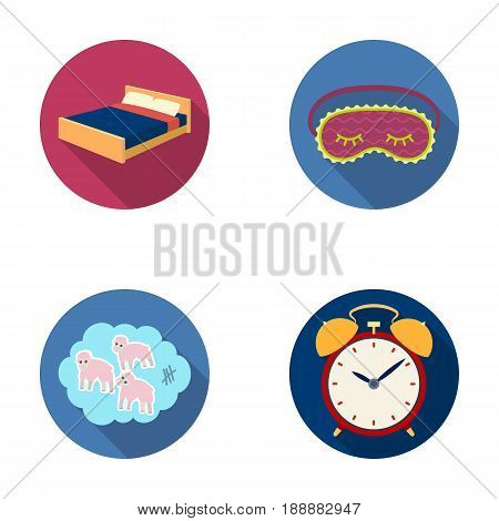 A bed, a blindfold, counting rams, an alarm clock. Rest and sleep set collection icons in flat style vector symbol stock illustration .