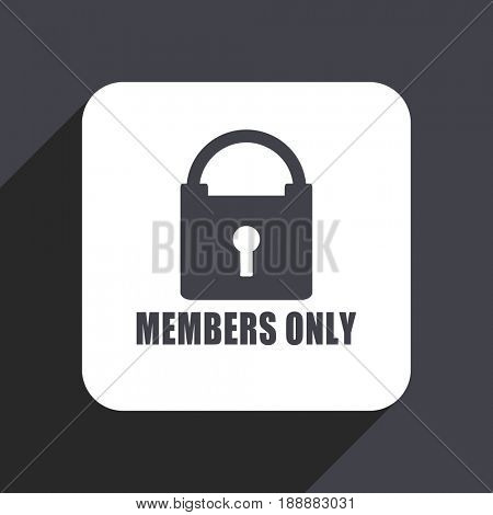 Members only flat design web icon isolated on gray background