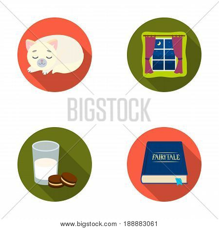 Sleeping cat, night outside the window, milk and biscuits, fairy tales. Rest and sleep set collection icons in flat style vector symbol stock illustration .