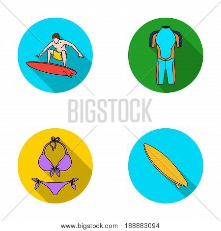 Surfer, wetsuit, bikini, surfboard. Surfing set collection icons in flat style vector symbol stock illustration .