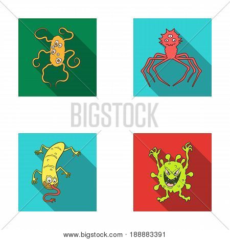 Different types of microbes and viruses. Viruses and bacteria set collection icons in flat style vector symbol stock illustration web.