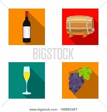 A bottle of red wine, a wine barrel, a glass of champagne, a bunch. Wine production set collection icons in flat style vector symbol stock illustration .