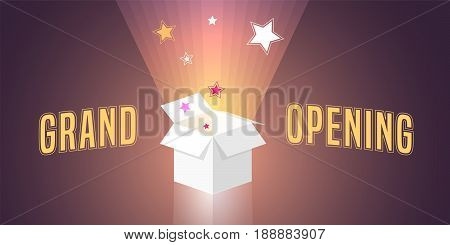 Grand opening vector illustration background with open gift box and swirl. Template banner design element for opening ceremony
