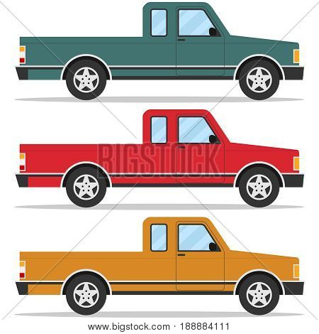 Retro pickup car set of pickup trucks. Flat design vector illustration vector.