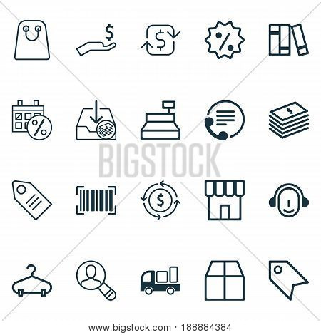Commerce Icons Set. Collection Of Delivery, Peg, Spectator And Other Elements. Also Includes Symbols Such As Shopping, Center, Rebate.