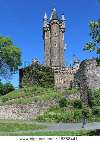 The 19 century tower ,'Wilhelmsturn', a famous hilltop landmark in Dillenburg, Hesse, in Germany.