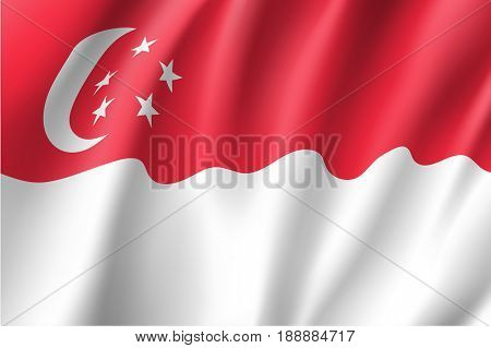 Waving flag of Republic of Singapore - Southeast Asia state. Is a member of Asean Economic Community - AEC . Singaporean patriotic sign in official colors, crescent and stars. Vector illustration