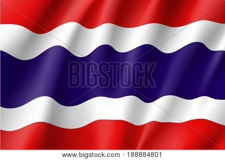 Waving flag of Kingdom of Thailand. Is a member of Asean Economic Community - AEC . Thai patriotic sign in official national country colors. Symbol of Southeast Asia state. Vector icon illustration poster