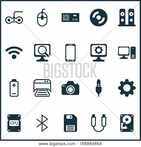 Hardware Icons Set. Collection Of Hdd, Battery, Diskette And Other Elements. Also Includes Symbols Such As Chip, Hdd, Wireless.