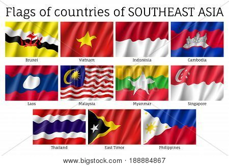 Set of waving flags of members of Asean Economic Community - AEC - Laos, Thailand and Vietnam, Singapore, Malaysia and Philippines. Signs of Southeast Asia states. Vector isolated icons
