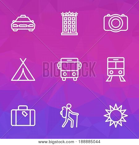Exploration Outline Icons Set. Collection Of Luggage, Building, Sunny And Other Elements. Also Includes Symbols Such As Motel, Train, Suitcase.