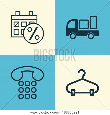 E-Commerce Icons Set. Collection Of Peg, Black Friday, Callcentre And Other Elements. Also Includes Symbols Such As Truck, Shipping, Delivery.