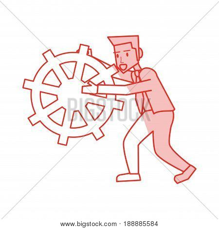 Flat line monocromatic man with rudder over white background. Vector illustration