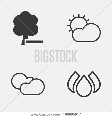 Eco-Friendly Icons Set. Collection Of Aqua, Delete Woods, Cloud Cumulus And Other Elements. Also Includes Symbols Such As Clear, Delete, Weather.
