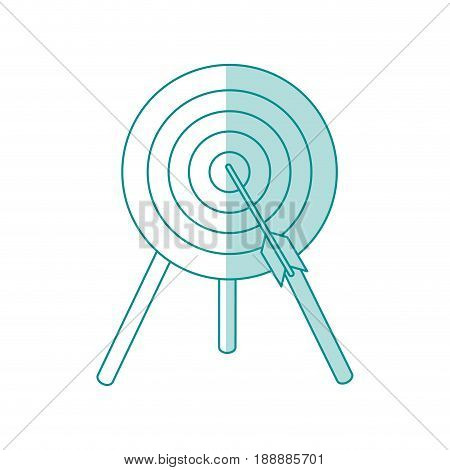 Flat line monocromatic target with arrow over white background. Vector illustration.