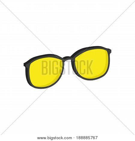 Yellow Glasses, Eyeglasses Symbol. Flat Isometric Icon Or Logo. 3D Style Pictogram For Web Design, U